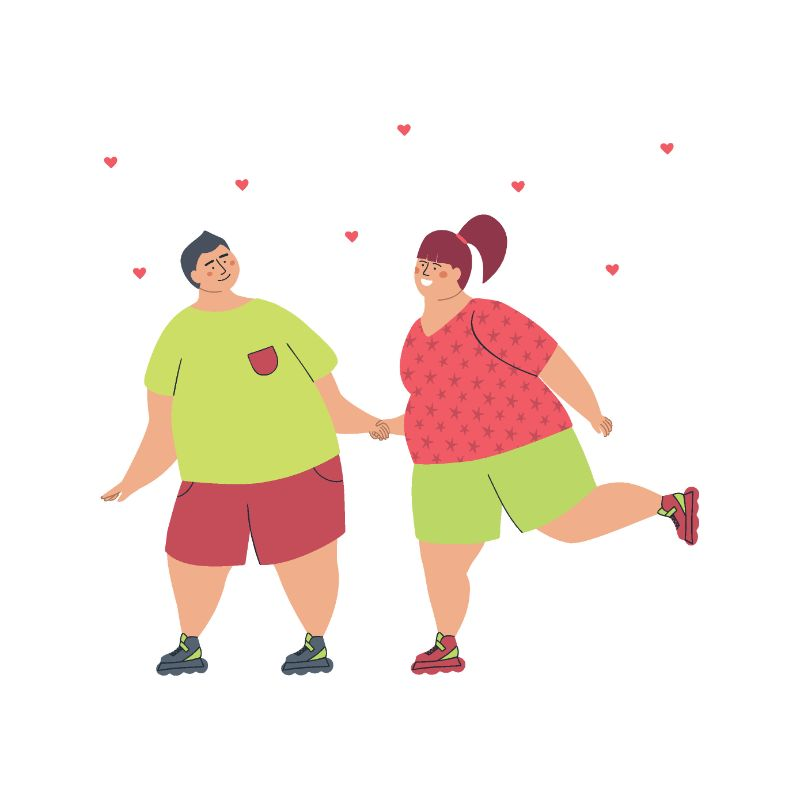 illustration of a plus size couple going roller skating