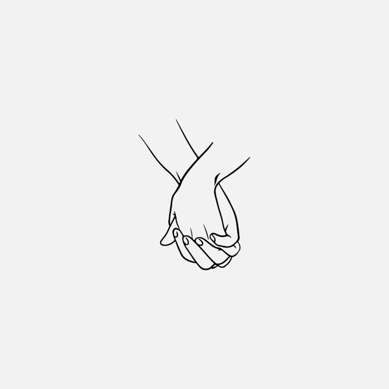 line art of hand holding