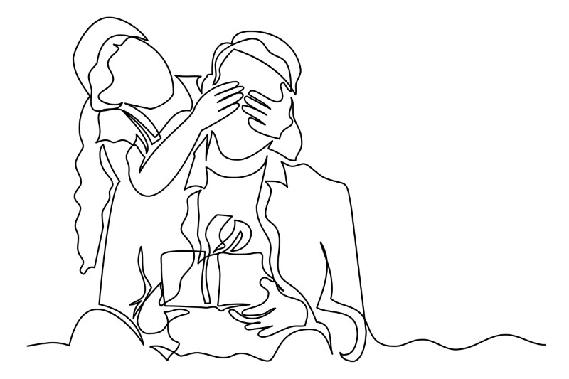 line art showing someone receive a surprise gift from their partner