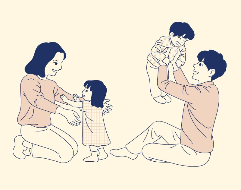 ilustration of a happy family with two kids