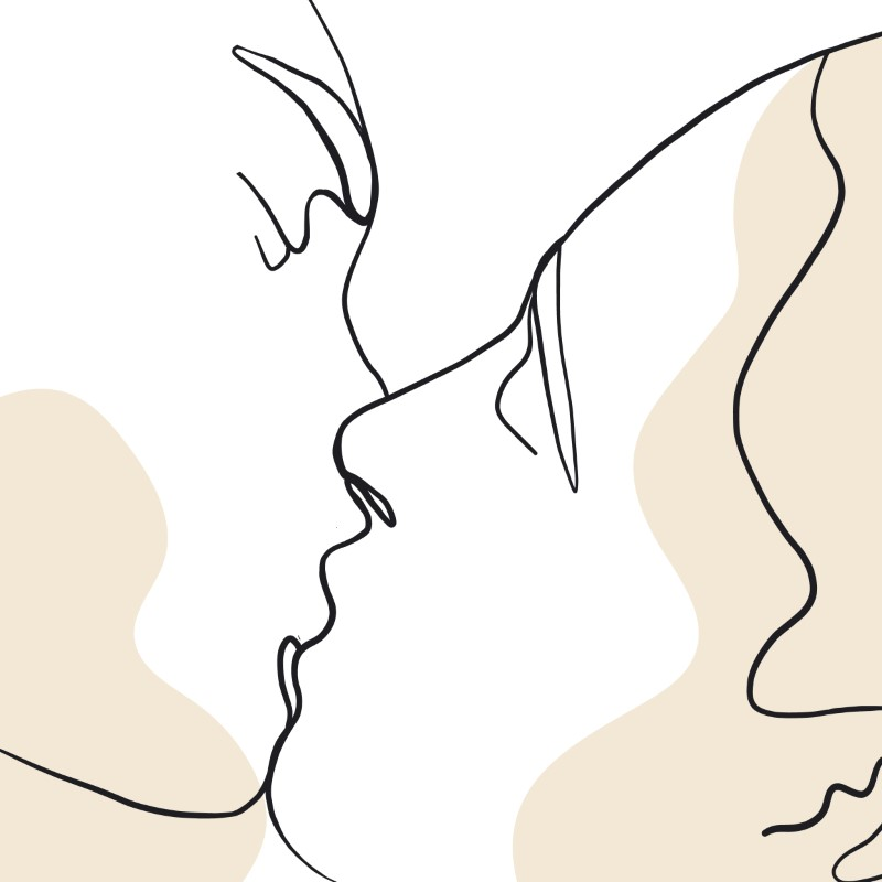 line art of people sharing a kiss