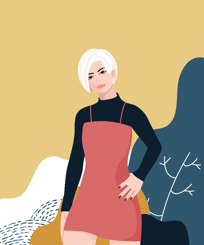 vector art of a woman with white, short hair