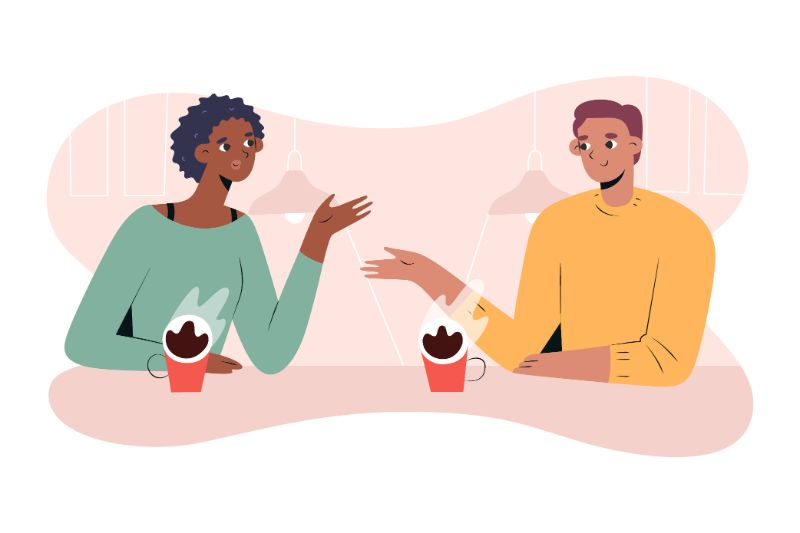 illustration of two people on a coffee date
