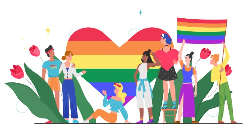 illustration of LGBTQ+ people in front of a big rainbow pride heart