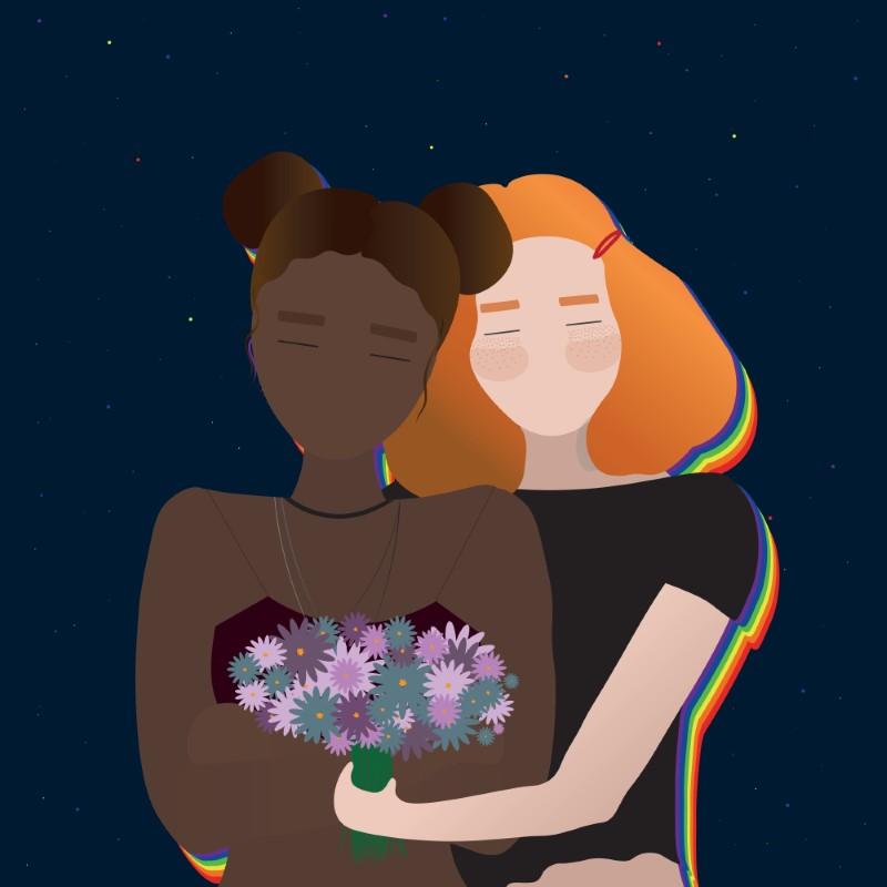 vector art of two girls hugging