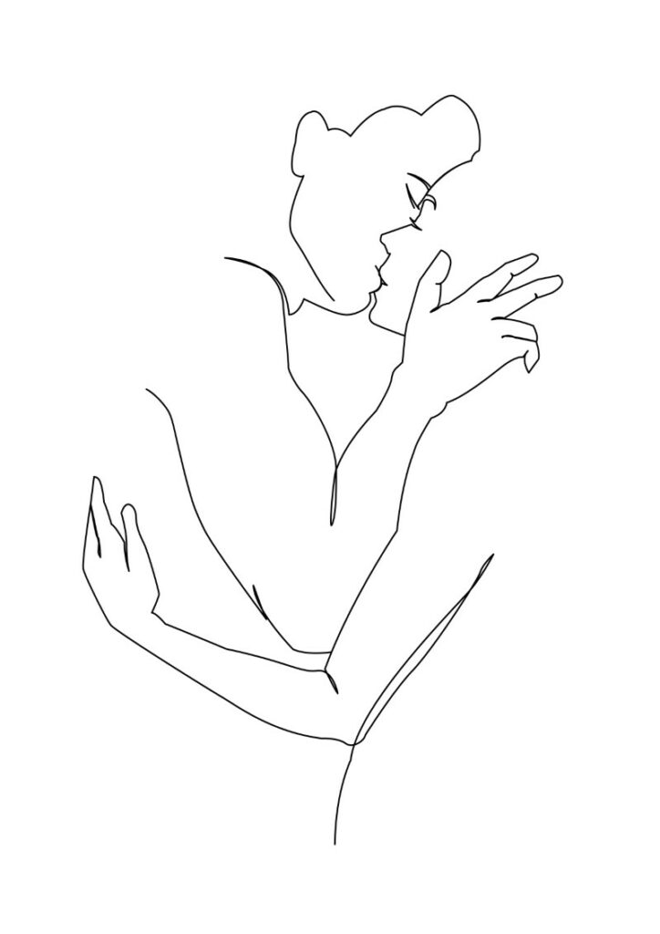 line art of two people kissing