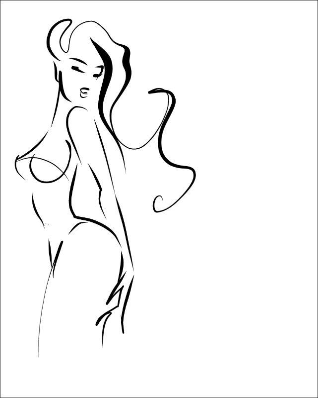 drawn woman in underwear