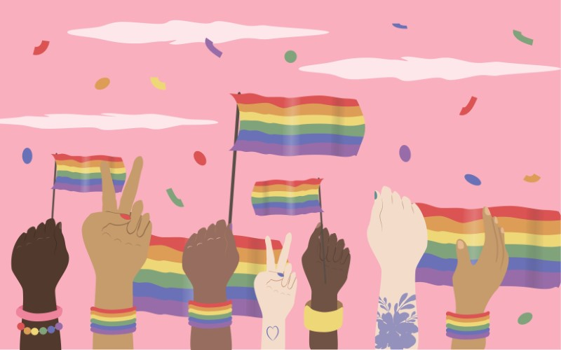 vector art of several hands holding up pride flags in the air and confetti flying around