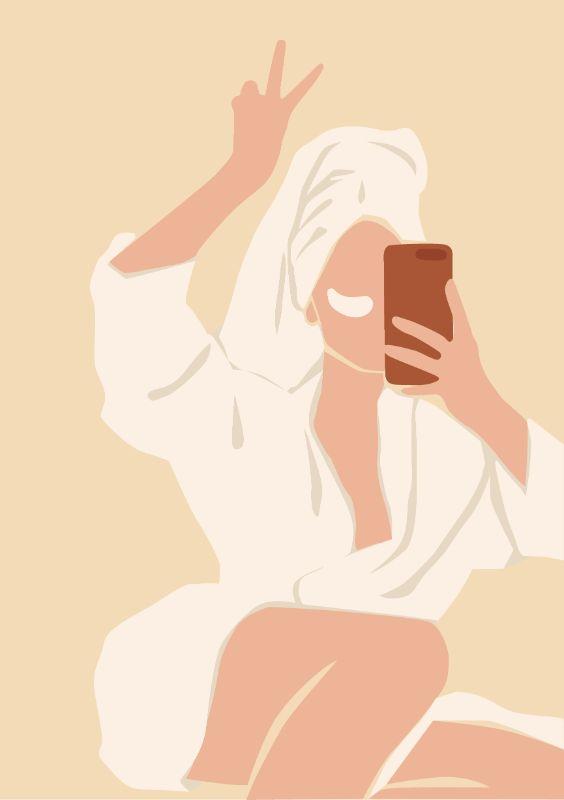 vector art of a woman in a bathrobe taking a selfie