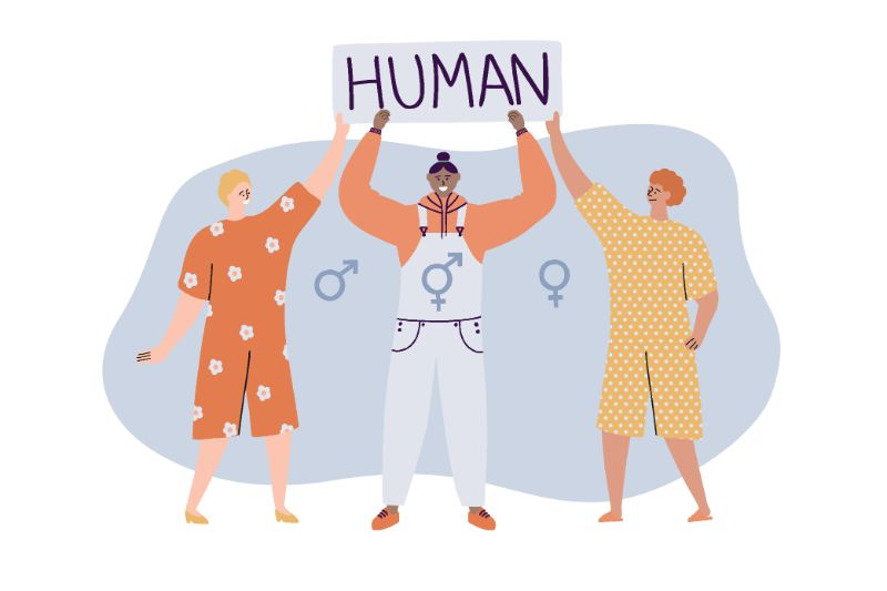 vector art of three people holding up sign that says human