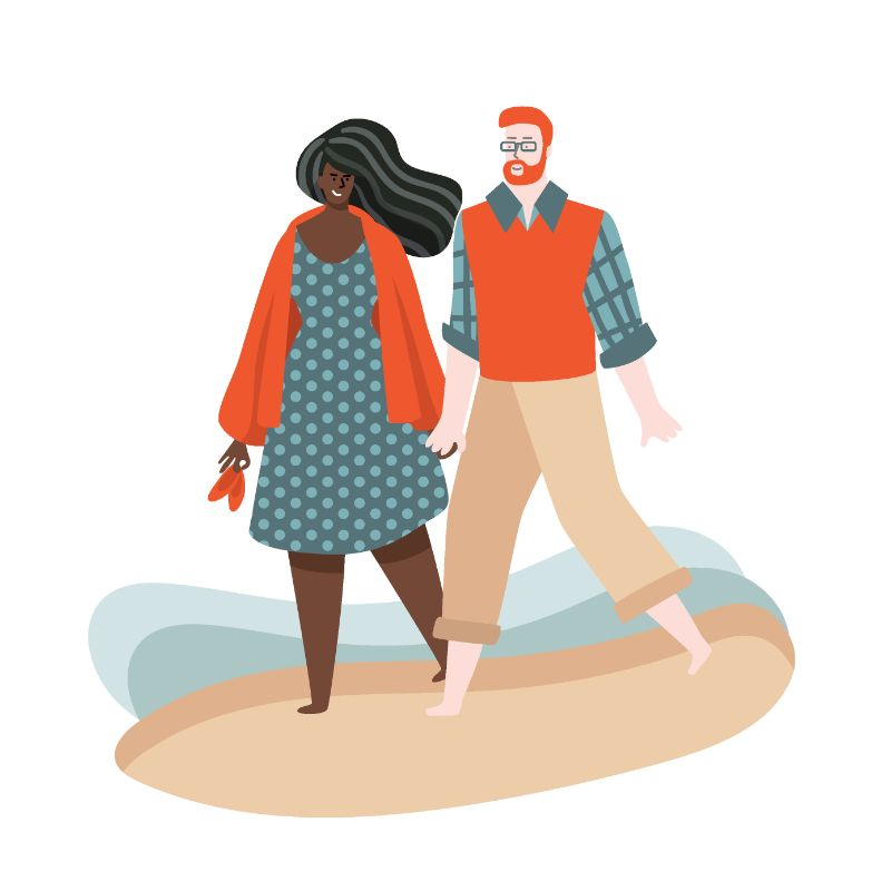 illustration of interracial couple on a walk