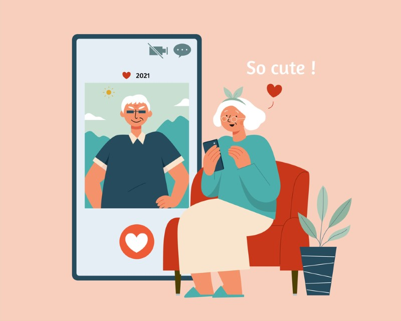 vector art of an older woman finding the dating profile of a man cute