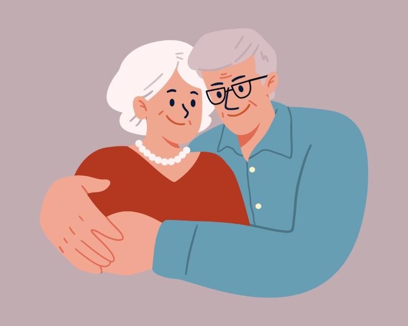 vector graphic of two elderly people hugging