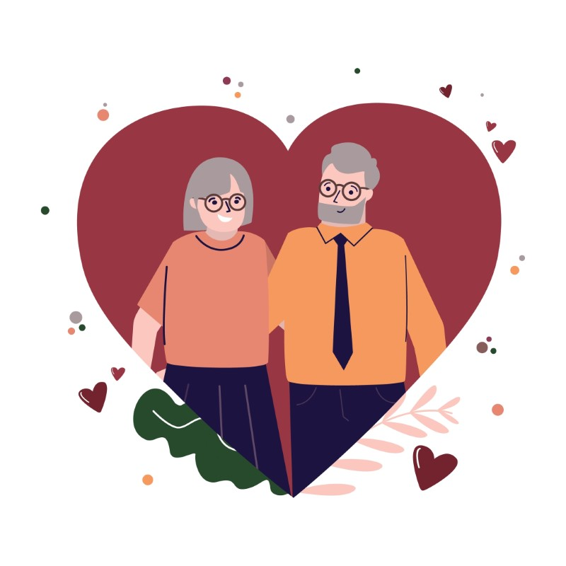 illustration of a grey-haired couple in a heart