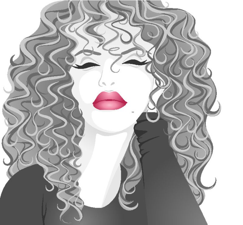 illustration of a woman with curls