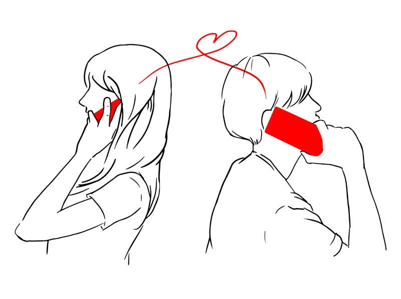 line art of a couple talking on the phone and a heart